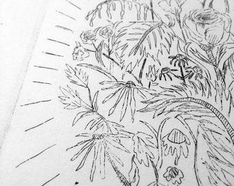 """BLEAK OFFERINGS, etching, 7""""x5"""""""