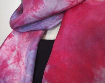 """Hand Dyed Shibori Silk Scarf, Red and Cornflower, Lavender - Straight or Infinity Loop Scarf 14x72"""""""