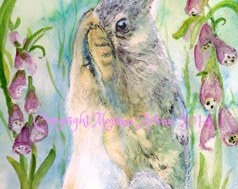 Hiding Hare Beautiful Giclee Print of  Watercolour and Ink Painting on Watercolour Paper