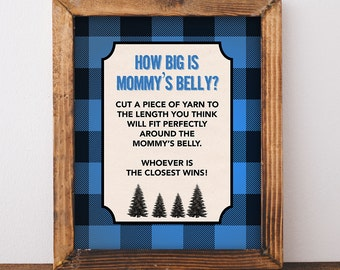 How Big is Mommy's Belly Game Sign, Blue Flannel Baby Shower Game, Blue Plaid Baby Shower, Baby Boy, INSTANT PRINTABLE