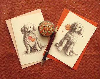 DONATE to Hunter Animal Rescue: Puppy Love - set of 2 dog-themed canine greeting cards