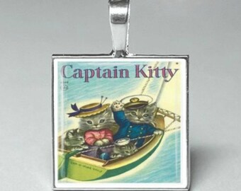 Vintage style captain kitty cats kittens glass tile pendant necklace jewelry