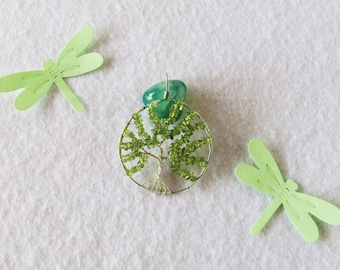 Tree of Life, Spring, peridot, necklace, unique gift, necklace with pendant, pendant, charm, spring, particular tree