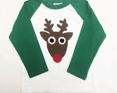 Toddler Boys Christmas shirt- Reindeer Appliqué on Gre...