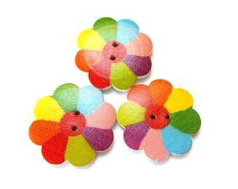 6 Wood buttons flower shape beautiful colors 35mm
