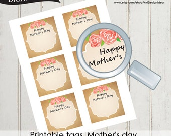 Printable tags. Mother's day Kraft tag Instant Download High quality file pdf 0516