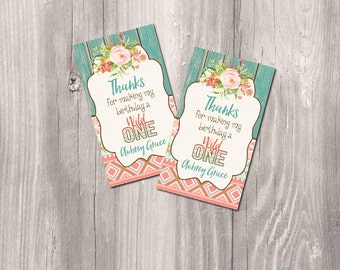 wild one printable favor tags, wild one thank you tags, printable first birthday tags, printable thank you cards, tribal favor tags