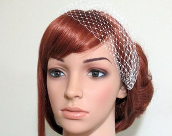 Petite Bandeau Veil Mini French Net Head Piece Bridesmaids Hair Bridal Accessory Many Colors