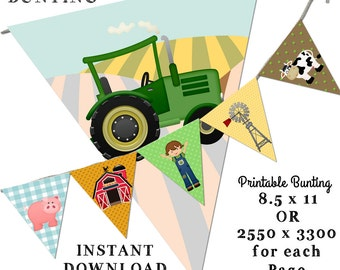 Farm Bunting, Printable Bunting, Nature Bunting, Tractor Bunting, Animal Bunting, Farm animal Bunting, Instant Download