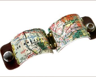 Los Angeles Map Cuff, Los Angeles Map, Los Angeles Print, Los Angeles Jewelry, Los Angeles Art, City Cuff, Gift for men