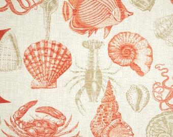 Fabric shower curtain Richloom Solarium Sealife coral,