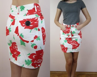 vintage MOSCHINO Jeans floral print mini pencil skirt US8 IT42
