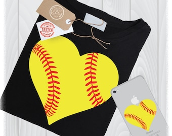 Softball Heart SVG Files Love Laces Designs- Softball Stitches SVG - Softball Cricut Design - Softball Cut File - Instant Download