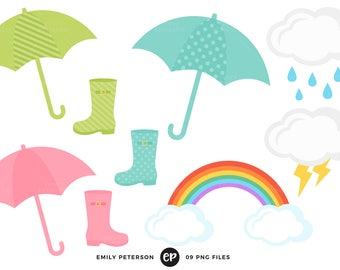 50% OFF SALE! Rain, Umbrella, Rain Boots, Rainbow - Commercial Use, Instant Download - V3