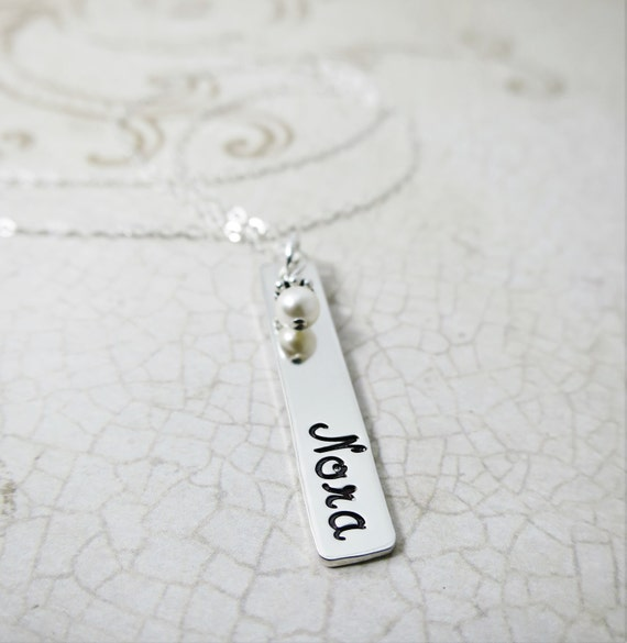 Silver Bar Necklace   Name Plate Necklace   Personalized Sterling Silver Jewelry   Engraved Name   Handstamped Name   Custom Jewelry