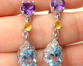 Amethyst,Topaz,Citrine Earrings, Sterling Silver Earrings, Blue Topaz Drops, Gemstone Earrings, Gem Drop Earrings, Natural Stones