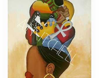 Wrap You Head With This Material | 20 x 24| Canvas Print Art| Black Woman|Headwrap| Anhk|Queen| Magic| Painting| Africa