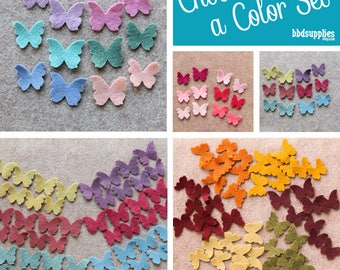Wool Blend Felt Butterflies | 48 Tiny Butterflies | Pick a Color Set | DIY