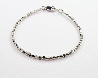 Silver Bracelet, Beaded Bracelet, Sterling Silver Bracelet, Minimalist Beaded Bracelet, Womens Bracelet, Gift For Her, Stacking Bracelet