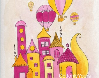 Watercolor Print -Whimsy House - Pink and Yellow