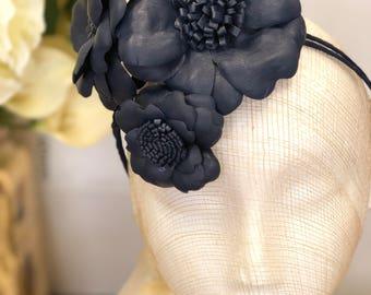Fleur Cuir Trilogy of Wild Roses in Navy Genuine Leather