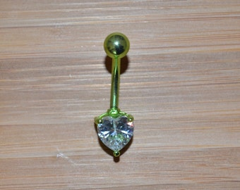 Clear Single Prong Heart Gem Green Belly Button Ring Navel Body Piercing Jewelry