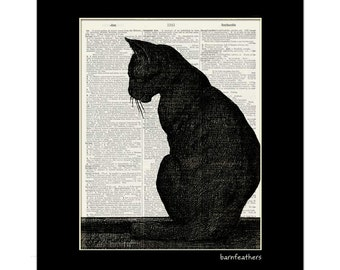 Black Cat - Vintage Illustration - Dictionary Art Print No. P362