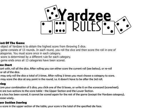 picture regarding Yardzee Printable named Yard Yahtzee Tips Billy Knight