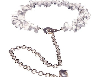 Rock Crystal Quartz Sterling Collar and Chain Statement Necklace Choker