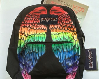 Rainbow Wings Custom Jansport Backpack Bookbag