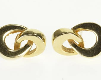 14k Interlocking Squared Loop Infinity Knot Post Back Earrings Gold