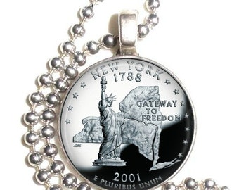 New York Art Pendant, Earrings and/or Keychain, USA Quarter Dollar Image, Round Photo Silver and Resin Charm Jewelry