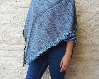 Poncho, Gray Poncho, Hand knitted Poncho, Black and light blue Poncho, Mother's day