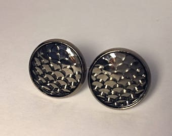 12 mm fish/mermaid scale earrings with gunmetal settings