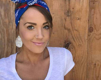 Los Angeles Dodgers Dolly Bow Headband || Reversible Pinup Rockabilly LA California Girl Twist Yoga Baseball Game Headscarf Hair Band Wrap