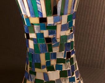 Blue Glass Mosaic Vase