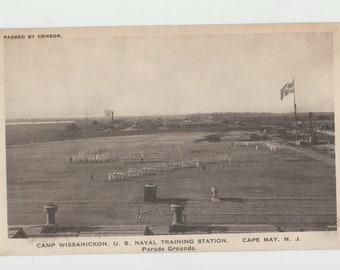 Linen Postcard, Cape May, New Jersey, Camp Wissahickon Naval Station, Parade Grounds