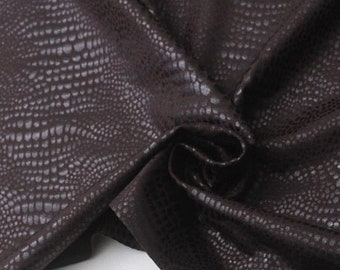 STRETCHY leather fabric, 2 YARDS Special price, Brown Python pattern