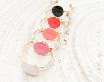 Ring gold plated enamel Red Desert PM Gaia