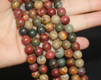 Picasso Jasper Beads 4mm 6mm 8mm 10mm12mm -Smooth and Round Stone Beads-15 inches one strand