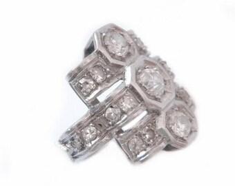 Art Deco Platinum Diamond Ring - 1.65ct French 1920s Engagement Ring - European Rose Cut Diamonds - Art Deco Diamond Ring - Estate