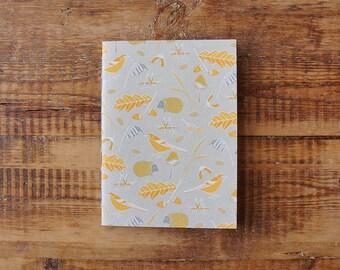 Autumn A5 Grid Paper   Sketchbook   Notebook   Screen Printed   Handmade