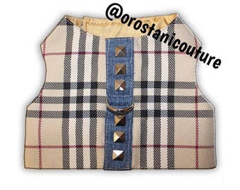 Tan British Designer Tartan Plaid Dog Harness Vest