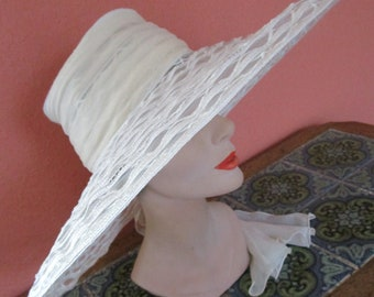 Huge Kokin Sheer Lattice  Braid White Ivory Sun Shade Hat Wide Brim Bridal Wedding Scarf