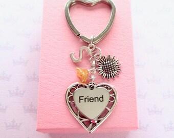 Sunflower keyring - Friendship keyring - Friend keychain - Sunflower keychain for friend - Friend Birthday gift - Stocking filler gift - UK
