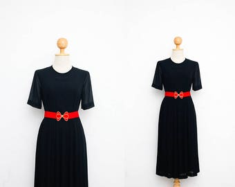 Vintage 80s Dress | Japanese Vintage Dress | Sheer Chiffon Dress | Black Dress | Chic Dress | Pleated Skirt | Minimalistic Dress | S