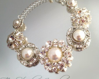 Bridal Bracelet with Vintage Style Pearl and Rhinestone Buttons