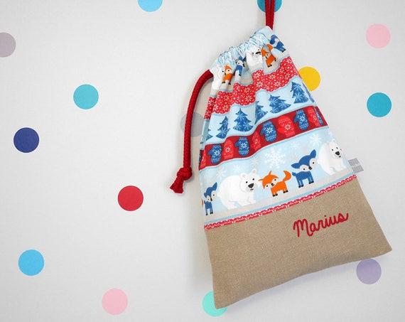 Customizable drawstring bag - kindergarten - Bear - Fox - Reindeer - Snow - Winter - Blue - Red - Christmas - cuddly toy - slippers - toys