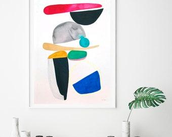 Scandinavian art, print geometric, colorful minimalist Giclee print, modern art print, large scandinavian print