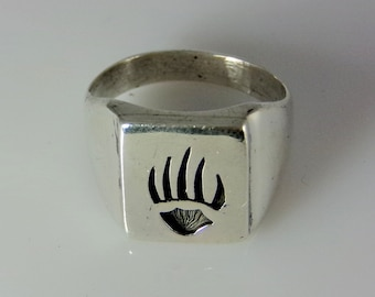 Sterling Silver Bear Claw Ring Handmade Size 10.0, R0367
